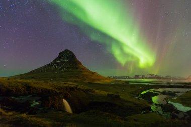 Northern lights over Kirkjufell volcano