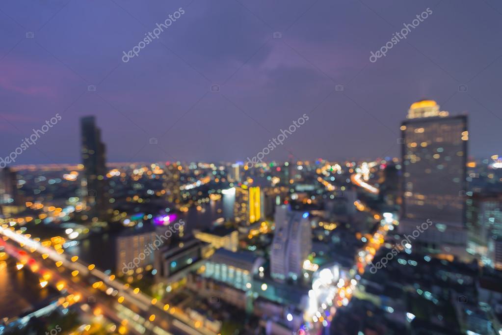 Gece Bokeh ışıklar şehir şehir Arka Plan Bulanık Stok Foto