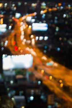 Aerial view blurred bokeh light city highway
