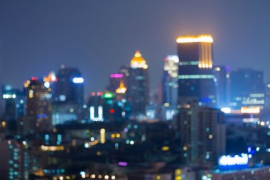 Blurred light night view city business downtown, abstract background