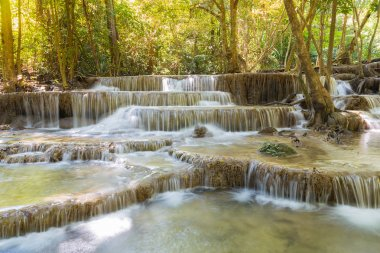 Deep forest multiple layers waterfall