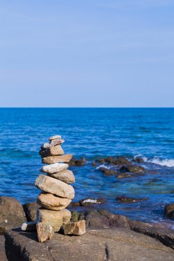 Natural stack stone with natural blue ocean