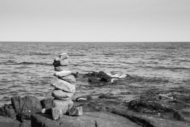 Black and White, Pile of beautifully stacked stones