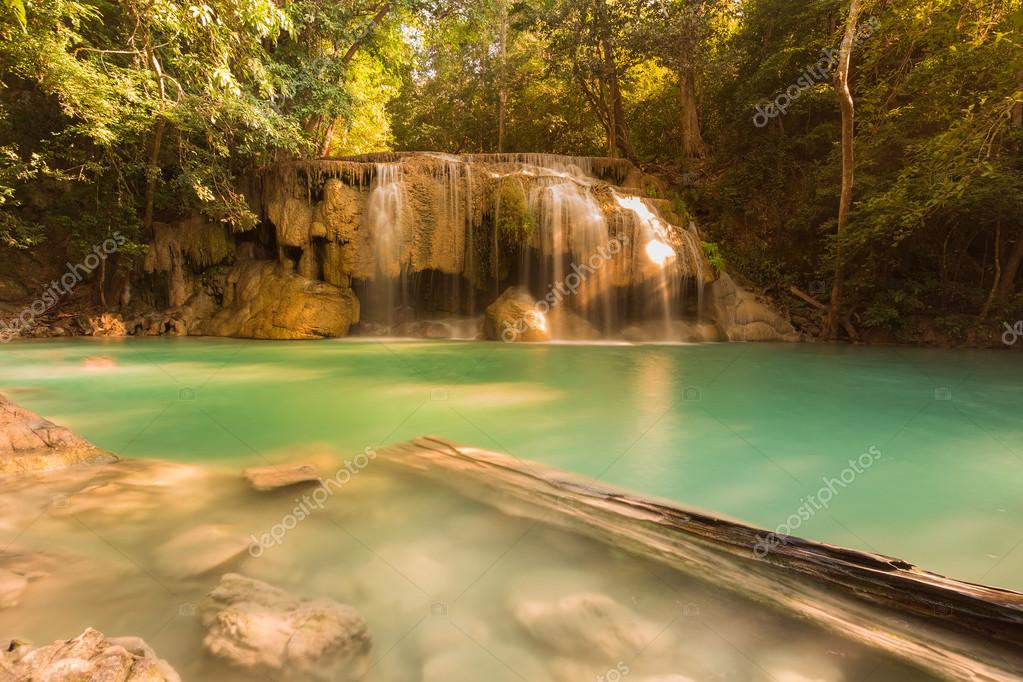 Фотообои Deep forest natural waterfalls