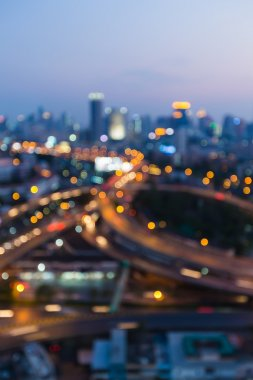 Blurred lights night view, city and highway interchange