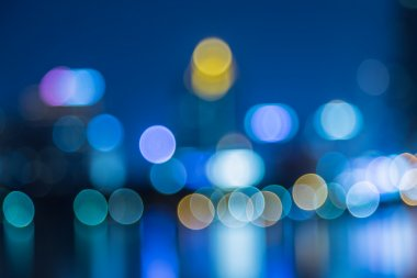 Cityscape river view in twilight time, Blurred Photo bokeh