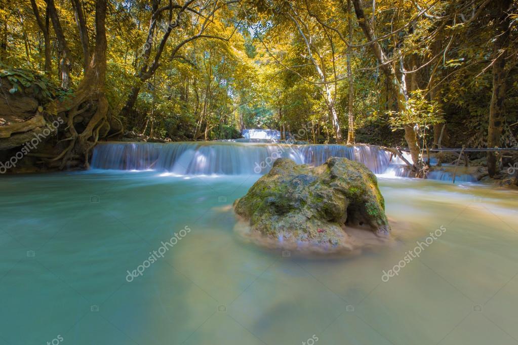 Фотообои Waterfall in National park Kanchanaburi, Thailand