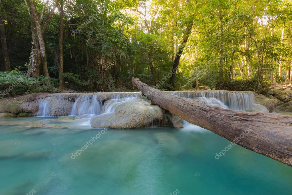 Фотообои Deep forest waterfall locate in national park Western of Thailand