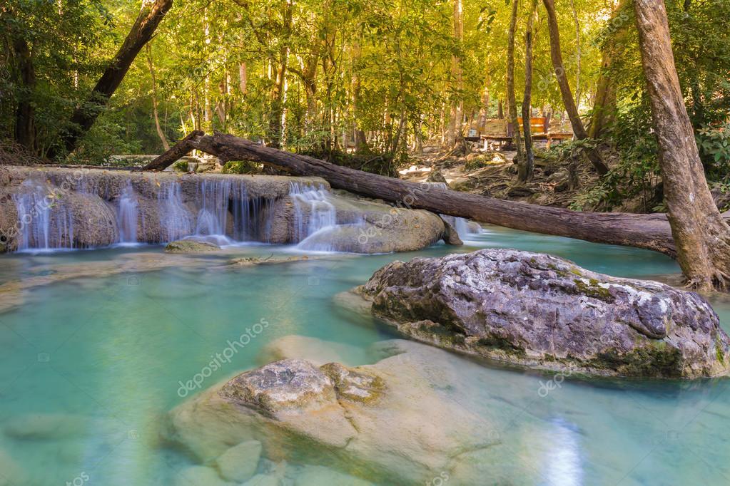 Фотообои Blue stream waterfall in Kanjanaburi Thailand (National park)