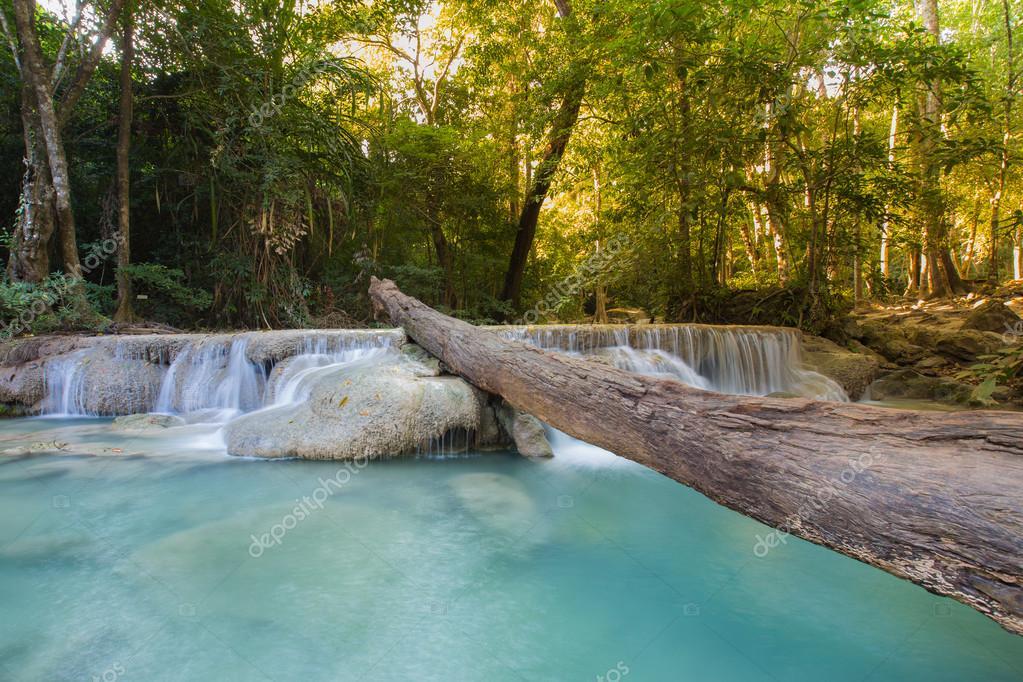 Фотообои Deep forest waterfalls with long exposure,