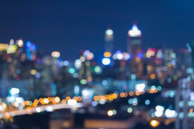 Abstract blur bokeh of beautiful cityscape night lights view