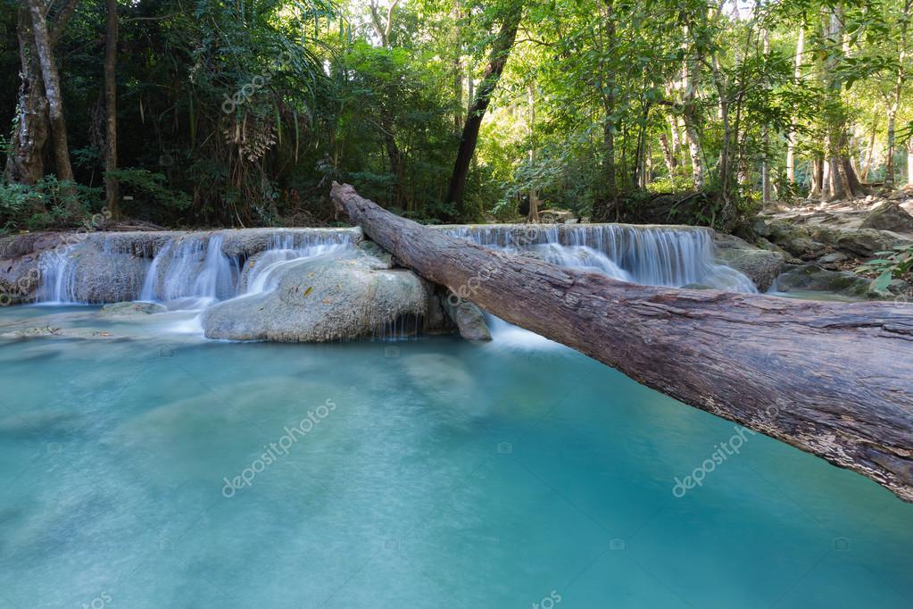 Фотообои Deep forest blue stream waterfall