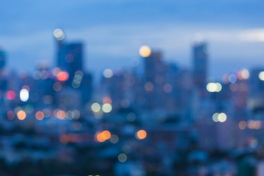 View of city night abstract circular lights blurred bokeh background
