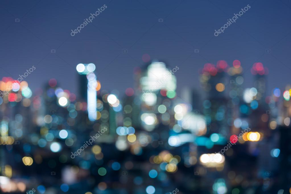Blurred city at blue hour, Concept about traveling and city lifestyle