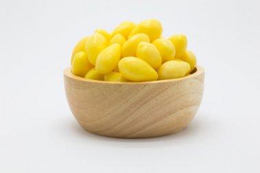 Ginkgo nuts Ginkgo biloba in wooden bowl