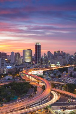 Bangkok City hight way intersection with beautiful sky during sunset