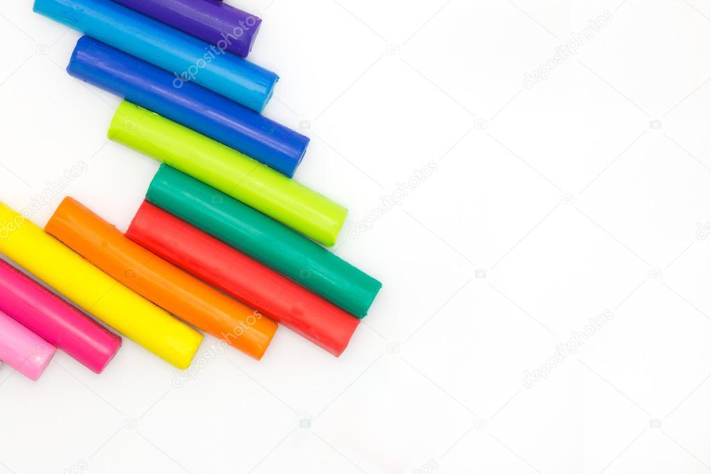 Kolory Tęczy Gra Gry Gliny Dziecka Na Tle Zdjęcie Stockowe