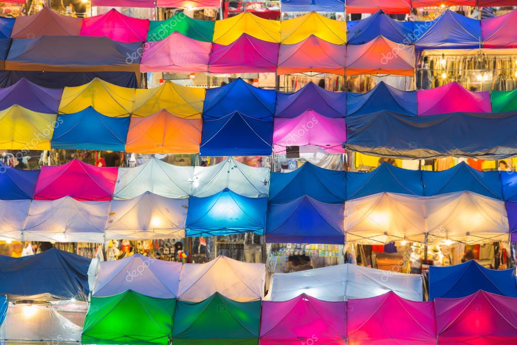 Aerial view of multiple colour of flea market