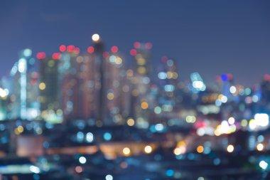 Blurred bokeh city light night view