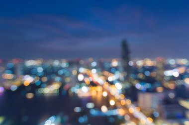 Nigh city light blurred, aerial view, abstract bokeh background