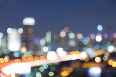 Aerial view of downtown light at night, abstract blurred bokeh background