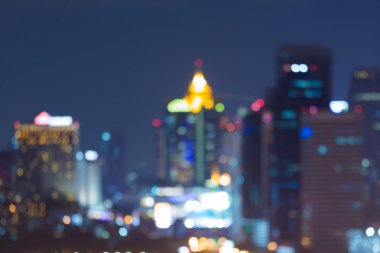 Abstract blurred bokeh lights night view of city downtown
