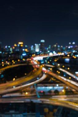 Night view blurred bokeh light city road interchanged