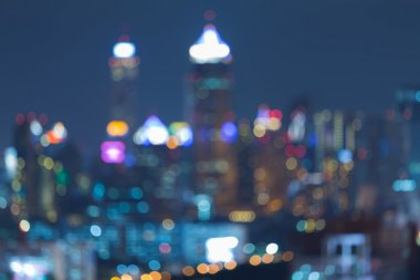 Abstract blurred bokeh background, city lights at night