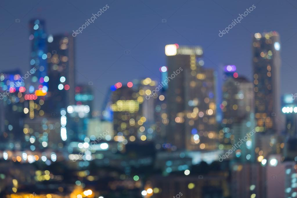 Blurred bokeh background, city lights at night