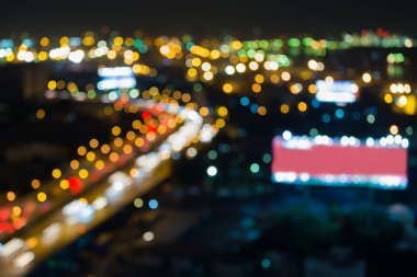 Blurred bokeh city highway curved