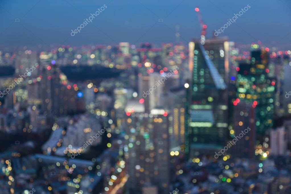 Havadan Görünümü Tokyo şehir ışık Bokeh Arka Plan Gece Görünüm