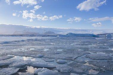 Ice lagoon landscape during winter season