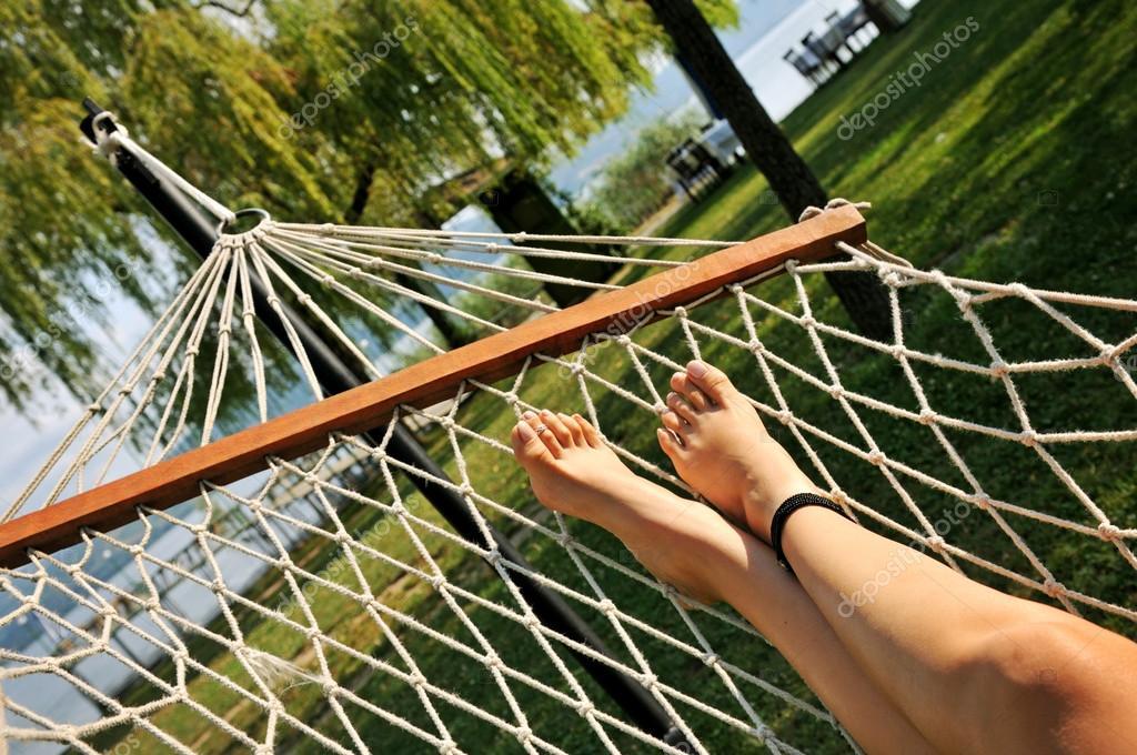 feet in the hammock