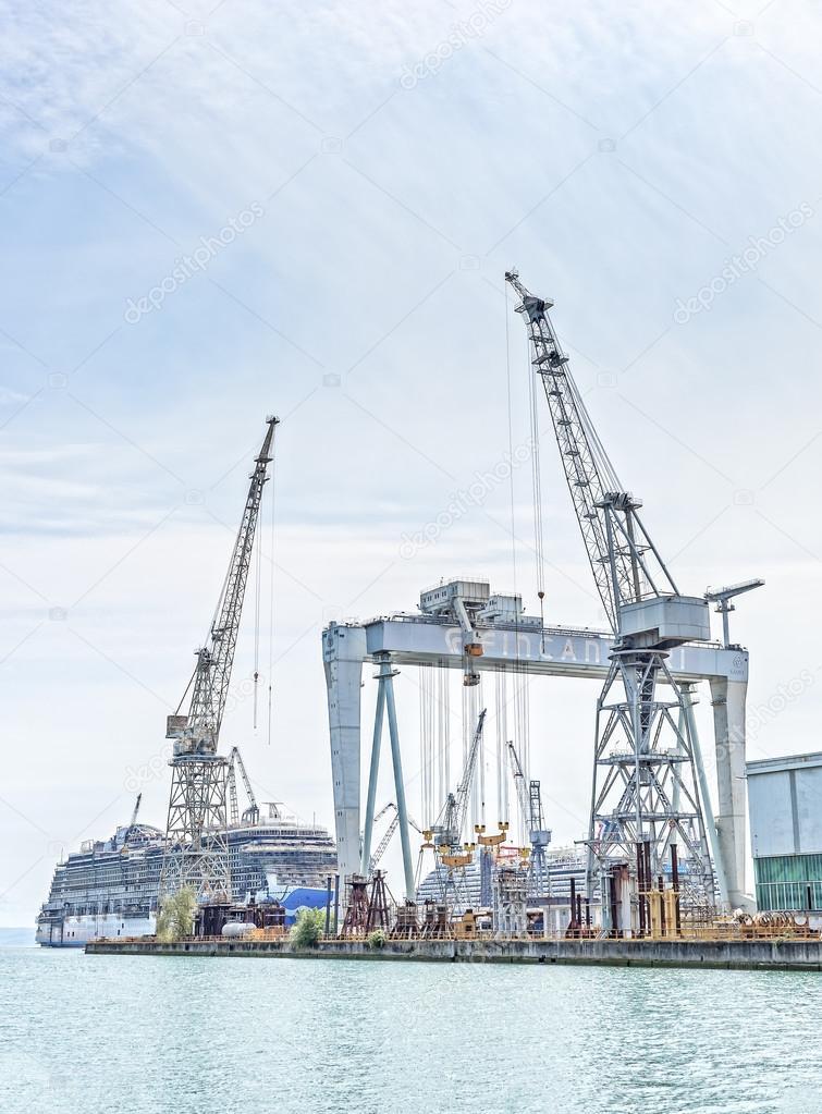 Shipyard of Fincantieri, working to build a new ship .