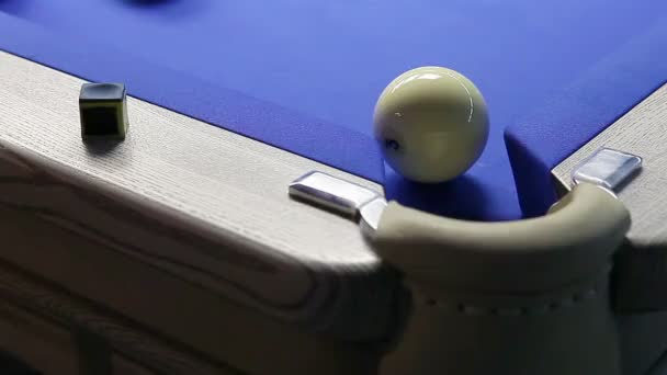 Game of billiards in pool room