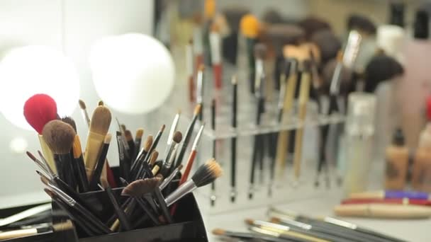 Brush set for make-up on table