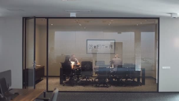 Business people inside a modern office building