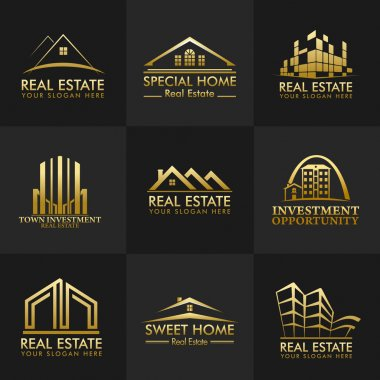 Group Real Estate Logos Vector Design