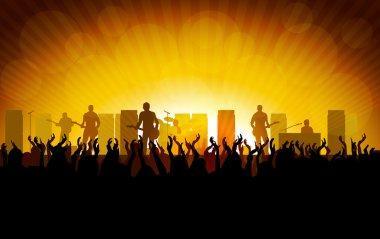 Rock concert, people raising up hands