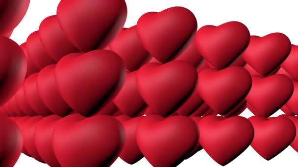 3D-Animation. Konzept einer Gruppe aufgeregter Herzen, die Sex haben. Aufgeregt