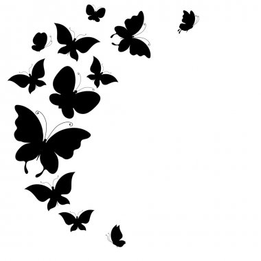 Background with a border of black butterflies flying, vector stock vector