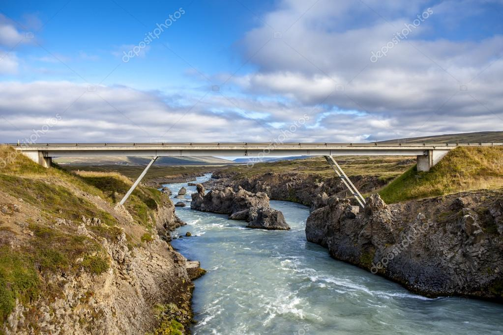 Bridge at Godafoss in Iceland