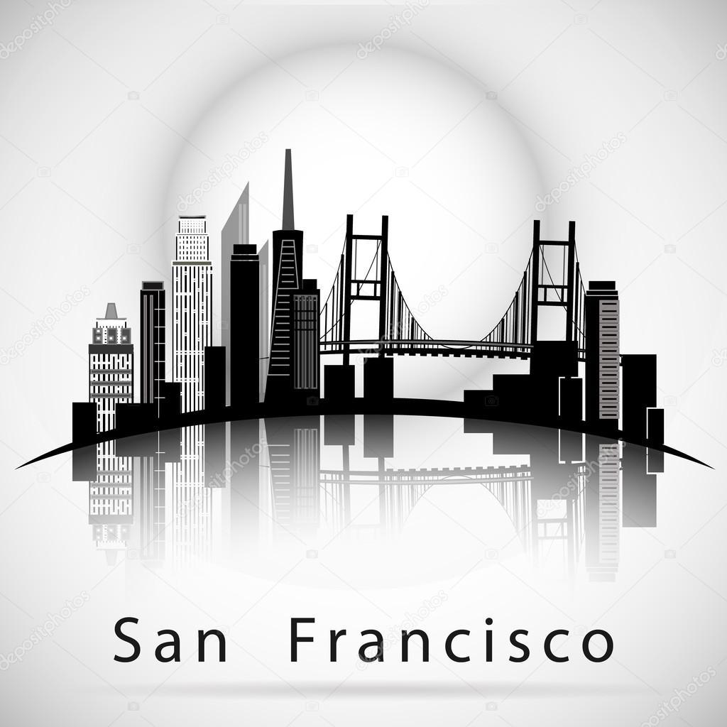 サンフランシスコ市のスカイラインのシルエット ストックベクター
