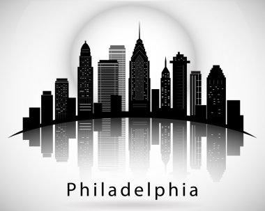 Philadelphia silhouette, Pennsylvania United States of America. City Skyline.