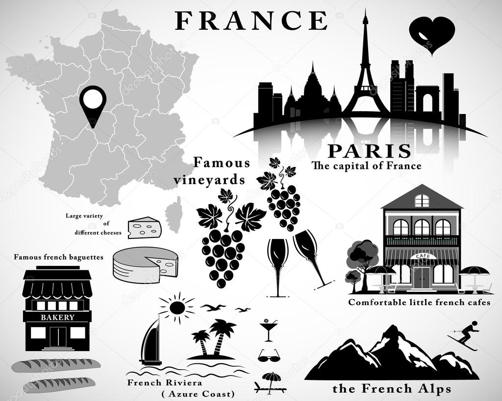 Symbols of france vector set travel concept stock vector symbols of france vector set travel concept stock vector biocorpaavc