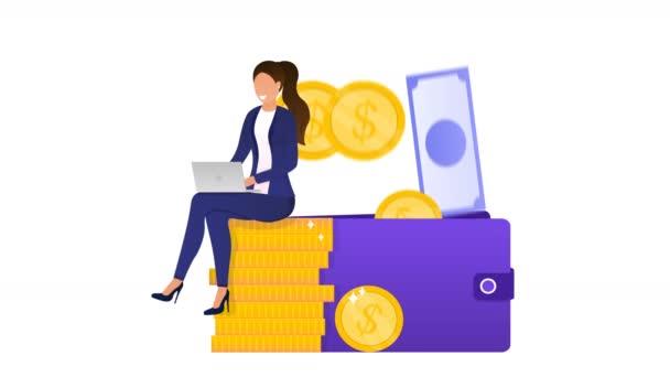 Junge erfolgreiche Frau verdient Geld. Geschäftsfrau, die am Laptop arbeitet, steigert ihr Einkommen. Finanzielle Unabhängigkeit. Kann auch ein freiberufliches Konzept sein. E-Commerce. Animation für Online-Geschäfte in hoher Qualität