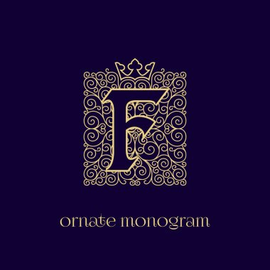 monogram with crown F