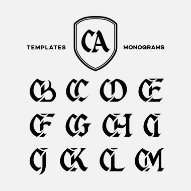 Monogram design template with combinations of capital letters CA CB CC CD CE CF CG CH CI CJ CK CL CM. Vector illustration. stock vector