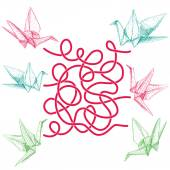 Photo Origami paper cranes set sketch on white background. labyrinth game for Preschool Children. Vector