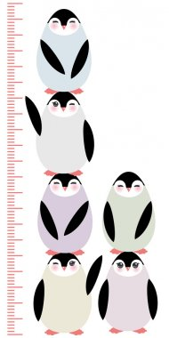 penguins on white background Children height meter wall sticker, kids measure, Growth Chart. Vector